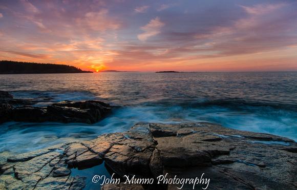 Acadia National Park Photography of sun rising over the Atlantic Ocean