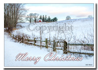 Christmas Card of Connecticut Farm in Winter Snow, Woodbury, Connecticut