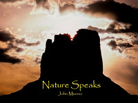 Front cover of Nature Speaks Nature Ebook.  Photograph of sunset on White Rim Trail, Moab Utah