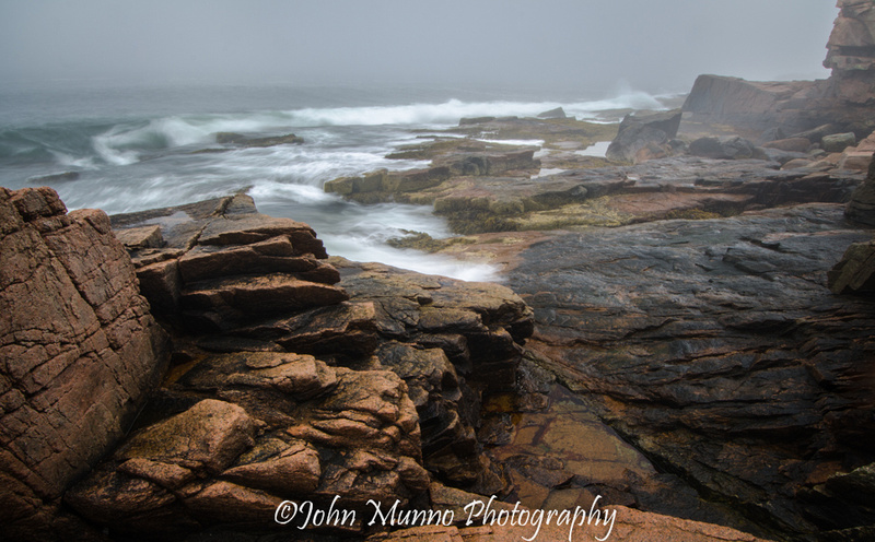 Waves meet fog at the cost, Acadia National Park