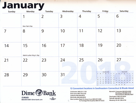 Dime Bank 2017 Connecticut and Rhode Island Nature and Landscape Calendar