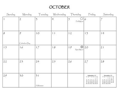2017 Connecticut Calendar October